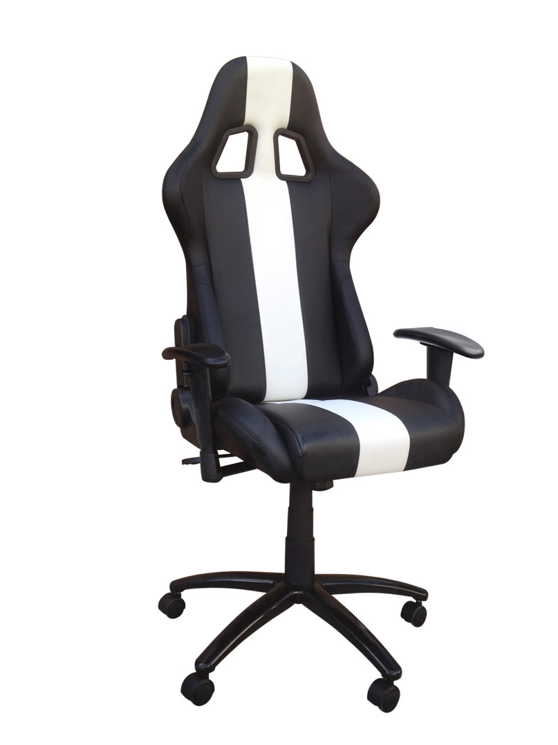 Black And White Adjustable Racing Seat Office Chair With Metal Frame
