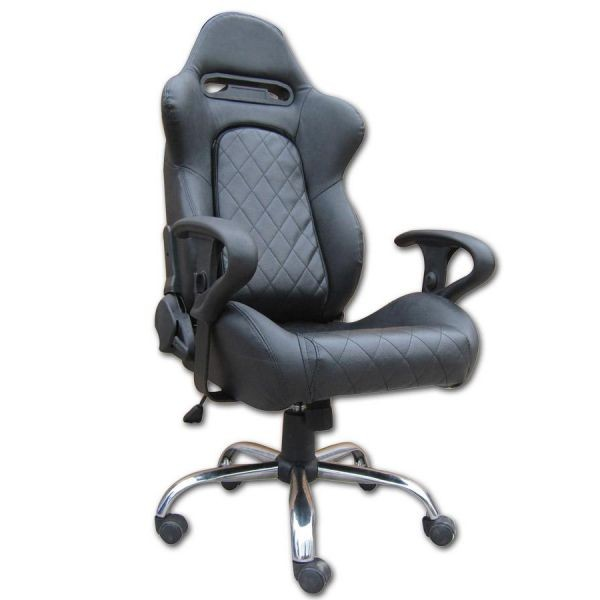 Mult - function Gray + Black Leather Executive Office Chair Lounge With Metal Frame